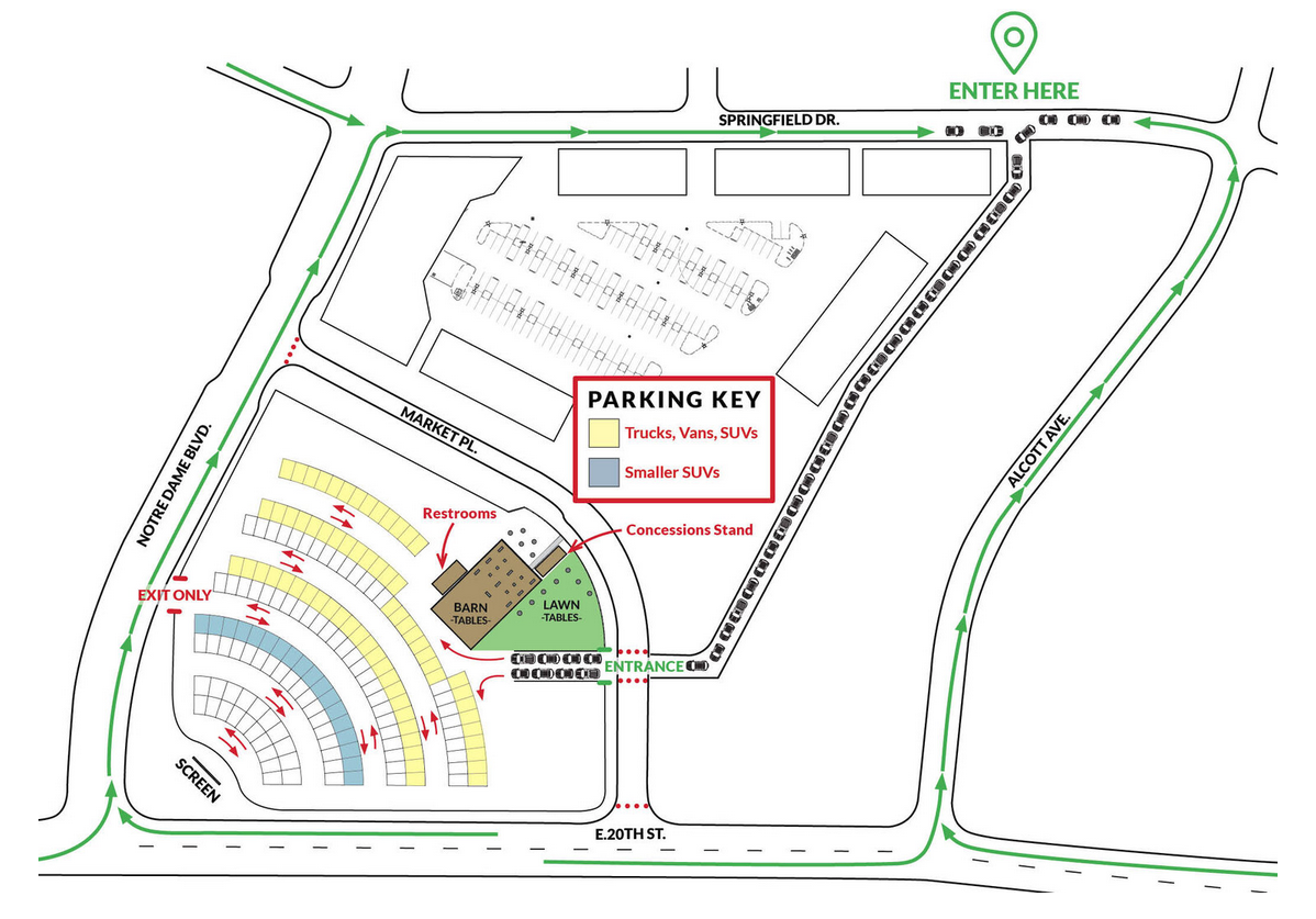 Map to Meriam Park. Make sure you visit the auto shop first!