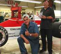 Bernard Juchli with Jay Leno who he does auto repair for